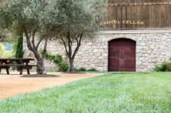 Wine barrel cellar Stock Images