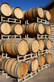 Sonoma Wine Barrels. Wine barrels stacked outside at a vineyard in Sonoma Valley, California Stock Image