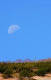 Sonora Desert Moon. Desert moon over the southwestern USA Sonora desert and mountains Stock Photo
