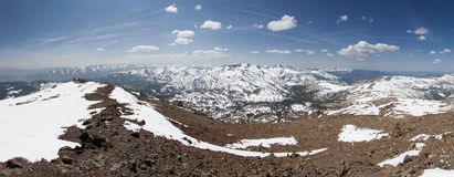 Sonora Peak Panorama. Panorama from the summit of Sonora Peak in the Sierra Nevada mountains looking south over Sonora Pass royalty free stock photography