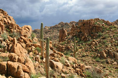 Sonoran Desert Afternoon. Unsettled sky and rocky outcroppings in the Sonoran Desert near Phoenix, Arizona Royalty Free Stock Photography