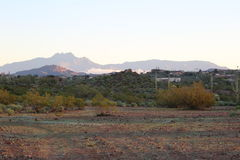 Sonoran desert. By the Superstition Mountains at sun rise with four-peaks in the background Stock Images