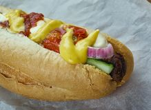 Sonoran hot dog. Style of hot dog popular in Tucson,Phoenix,and elsewhere in southern Arizona stock photography