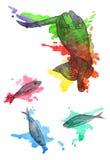 Sonos do gatinho e sonhos dos peixes ilustração royalty free