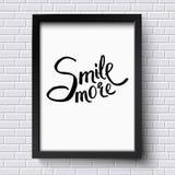 Sonríe más concepto en un marco blanco y negro Imagen de archivo libre de regalías