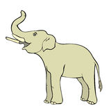 Sonriendo el elefante de lado encima del tronco Ilustración del vector Foto de archivo