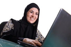 Sonrisa árabe de la señora de los bussines Foto de archivo