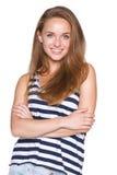Sonrisa adolescente positiva de la muchacha Imagen de archivo