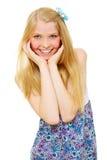 Sonrisa adolescente sorprendida de la muchacha Foto de archivo libre de regalías