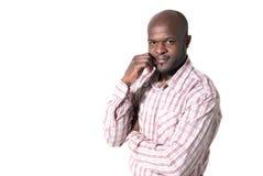 Sonrisa africana feliz del retrato del hombre de negocios aislada Fotografía de archivo libre de regalías