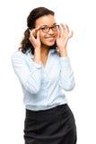 Sonrisa afroamericana feliz de la empresaria aislada en blanco  Imágenes de archivo libres de regalías