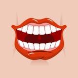 Sonrisa alegre Labios rojos y dientes blancos Abra la boca en su cara ilustración del vector