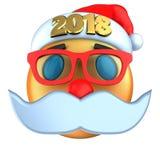 sonrisa anaranjada del emoticon 3d con el sombrero 2018 de la Navidad Imagen de archivo libre de regalías
