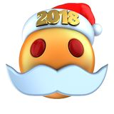 sonrisa anaranjada del emoticon 3d con el sombrero 2018 de la Navidad Imágenes de archivo libres de regalías