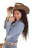 Sonrisa asiática del sombrero del dril de algodón de la mujer Foto de archivo