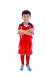 Sonrisa asiática joven del jugador de fútbol Tiro del estudio Aislado en pizca Fotos de archivo libres de regalías