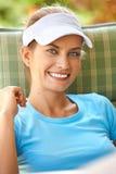 Sonrisa atractiva de la mujer Imagen de archivo