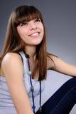 Sonrisa blanca de la muchacha Fotografía de archivo