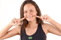 Sonrisa brasileña hermosa de la muchacha. Imagen de archivo libre de regalías