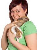 Sonrisa con dos conejos Foto de archivo libre de regalías