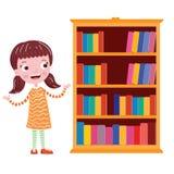 Sonrisa de la muchacha cerca del estante stock de ilustración