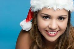 Sonrisa de la muchacha de la Navidad foto de archivo