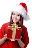 Sonrisa de la muchacha de la Navidad Imagenes de archivo