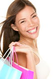 Sonrisa de la mujer de las compras Foto de archivo libre de regalías