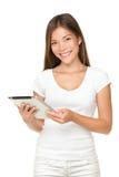 Sonrisa de la mujer del ordenador de la tablilla foto de archivo libre de regalías