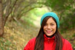 Sonrisa de la mujer del otoño Foto de archivo