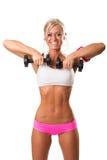 Sonrisa de las mujeres del deporte de la aptitud feliz con pesa de gimnasia Imágenes de archivo libres de regalías