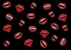 Sonrisa de los colmillos del ` un s del vampiro que repiten en un fondo negro ilustración del vector