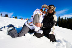 Sonrisa de los esquiadores Imágenes de archivo libres de regalías