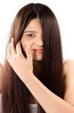 Sonrisa de mujeres indias hermosas con el pelo largo Fotos de archivo libres de regalías