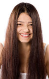 Sonrisa de mujeres indias hermosas con el pelo largo Fotografía de archivo
