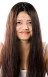 Sonrisa de mujeres indias hermosas con el pelo largo Fotografía de archivo libre de regalías