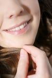 Sonrisa de risa de la mujer con los grandes dientes Imagen de archivo libre de regalías