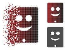 Sonrisa de semitono hecha fragmentos Smiley Icon del comunicador de Pixelated ilustración del vector