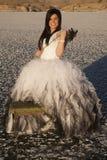 Sonrisa del banco de la flor del hielo del vestido formal de la mujer Imagenes de archivo