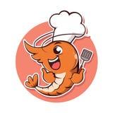 Sonrisa del camarón del cocinero del carácter del logotipo libre illustration