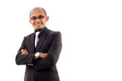 Sonrisa del hombre de negocios con confidente Imagen de archivo