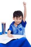 Sonrisa del muchacho y mano del aumento Fotografía de archivo