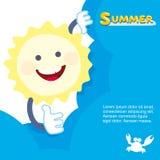 Sonrisa del sol del verano pieles detrás de una nube Vector Imágenes de archivo libres de regalías