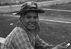 Sonrisa del trabajador de construcción Foto de archivo libre de regalías