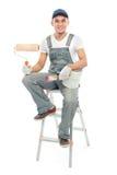 Sonrisa del trabajador del pintor Foto de archivo libre de regalías