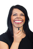 Sonrisa dentuda blanca grande Fotos de archivo libres de regalías