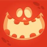 Sonrisa divertida de la cara de la calabaza de Halloween de la historieta del vector foto de archivo