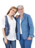 Sonrisa feliz de la hija de la madre y del adulto Foto de archivo libre de regalías