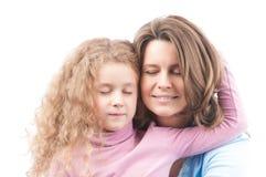 Sonrisa feliz de la madre y de la hija Fotografía de archivo