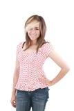 Sonrisa feliz de la muchacha bonita de la escuela del adolescente Imagenes de archivo